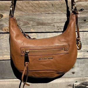 🌻MICHAEL KORS Brown Leather Messenger Hobo Crossbody Bag Purse Handbag